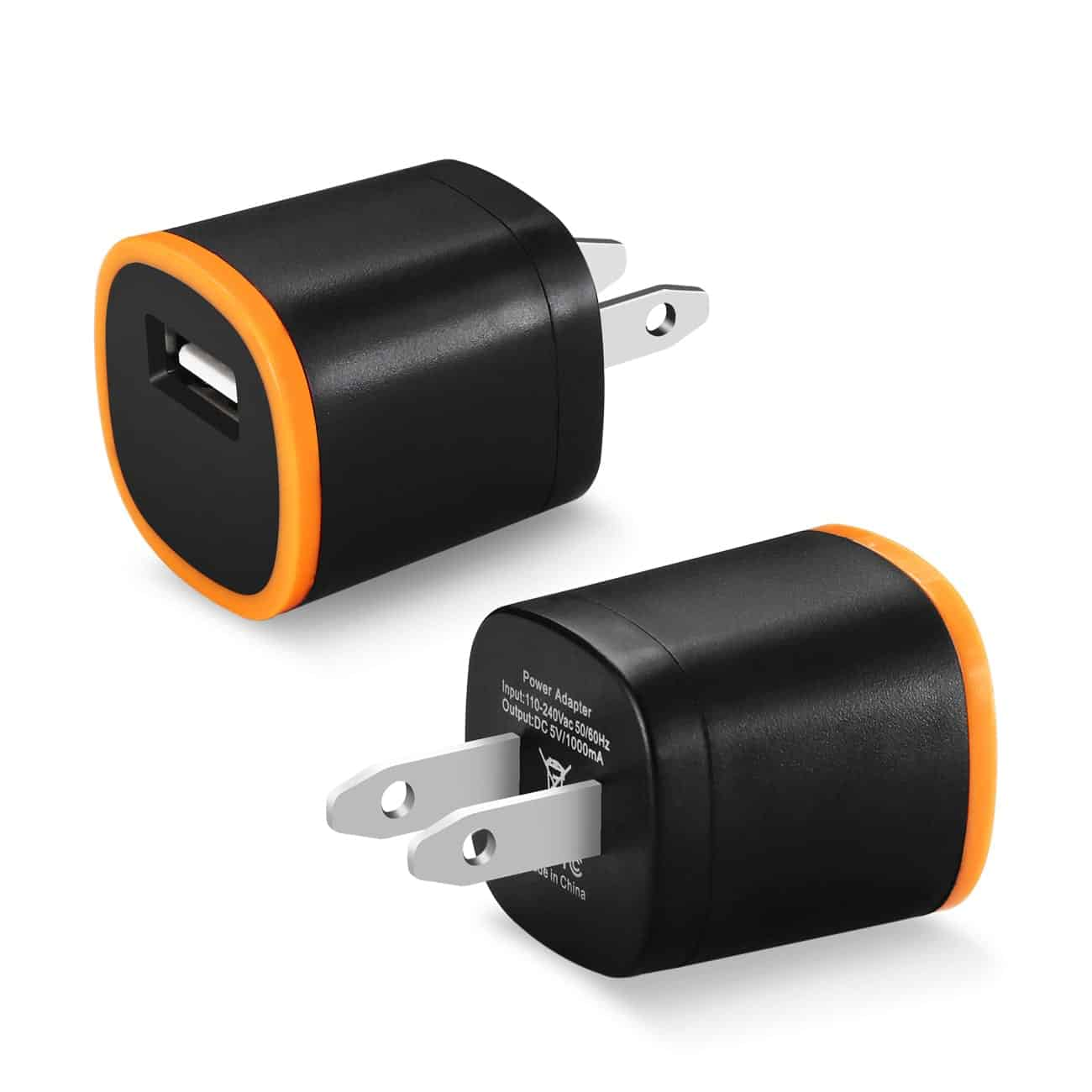 1 AMP DUAL COLOR PORTABLE USB TRAVEL ADAPTER CHARGER IN ORANGE BLACK