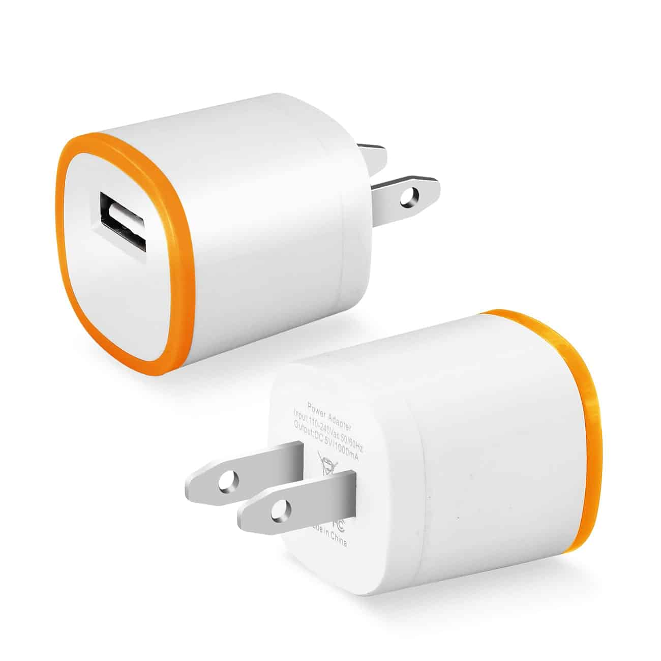 1 AMP DUAL COLOR PORTABLE USB TRAVEL ADAPTER CHARGER IN ORANGE WHITE