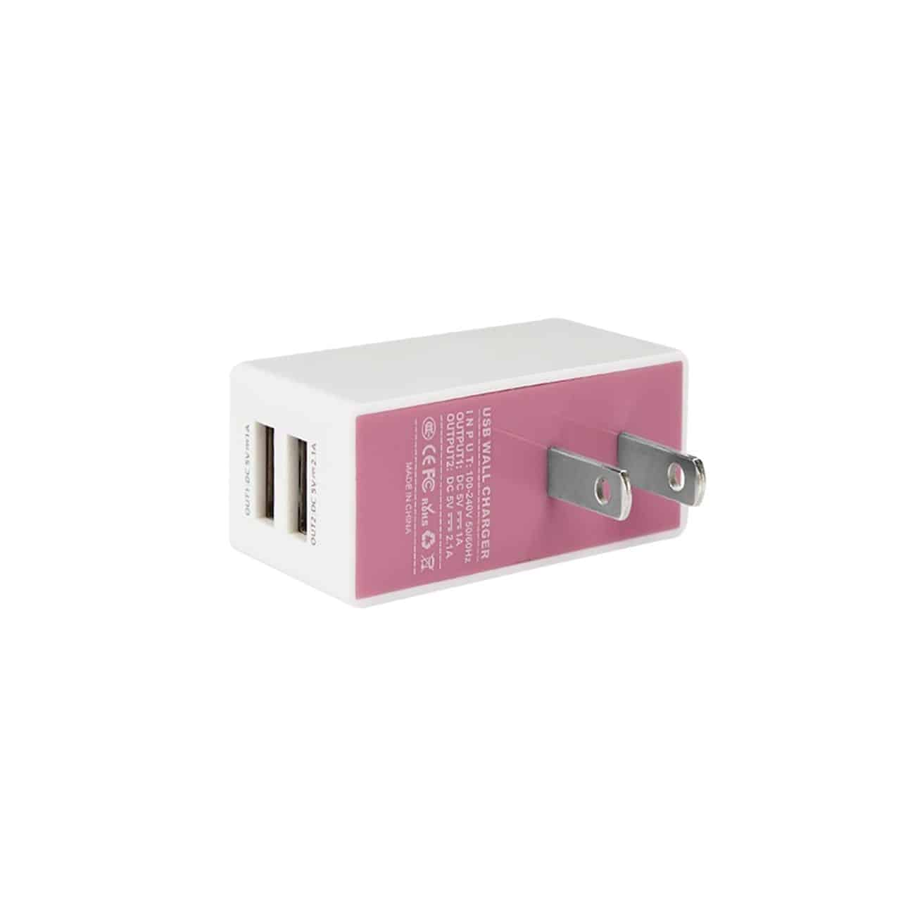 2 AMP DUAL PORT WALL USB TRAVEL ADAPTER CHARGER IN PINK WHITE