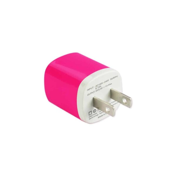 1 AMP WALL USB TRAVEL ADAPTER CHARGER IN HOT PINK