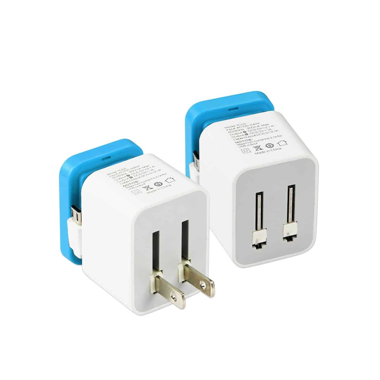 2 AMP DUAL PORT PORTABLE TRAVEL ADAPTER CHARGER IN BLUE