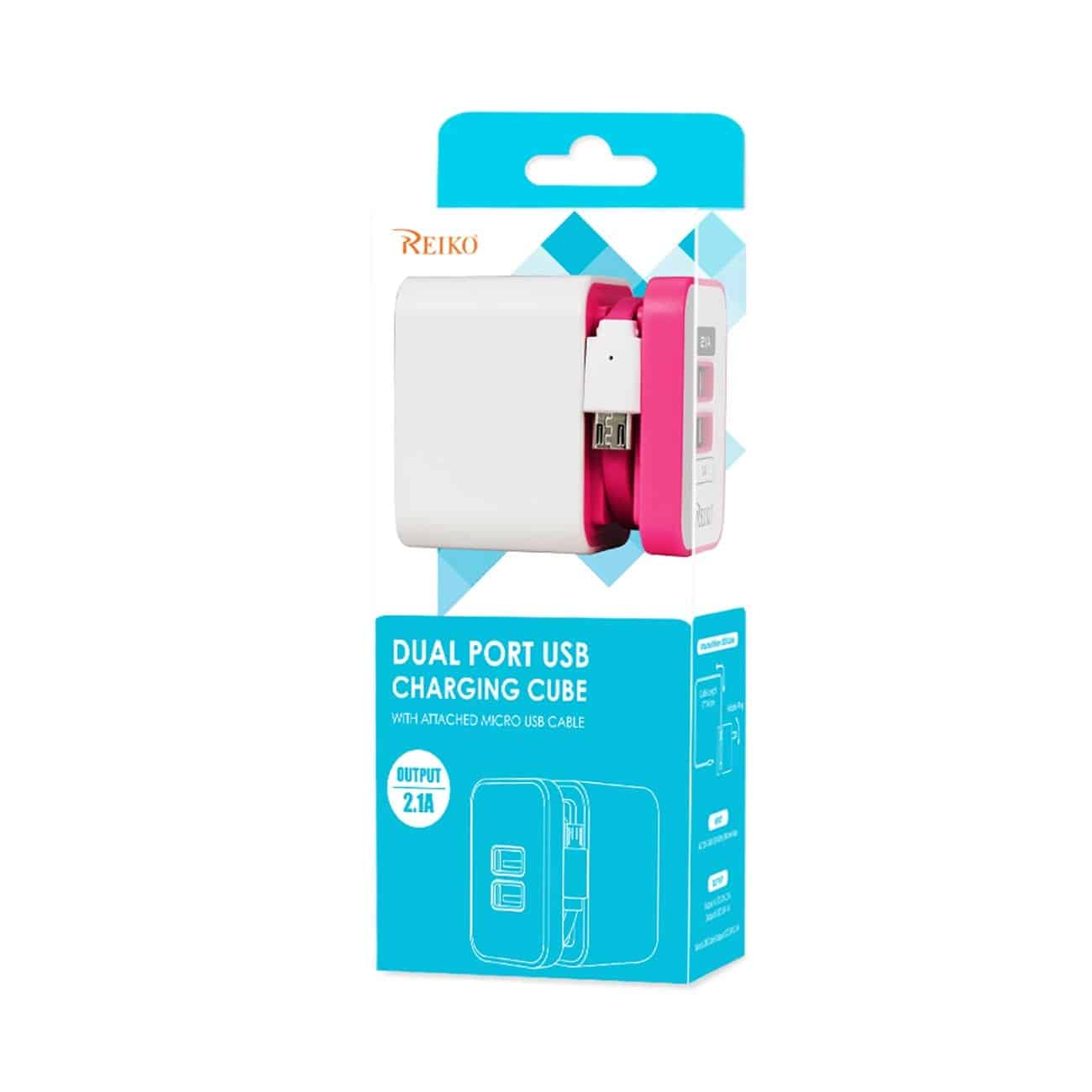 2 AMP DUAL PORT PORTABLE TRAVEL ADAPTER CHARGER IN HOT PINK