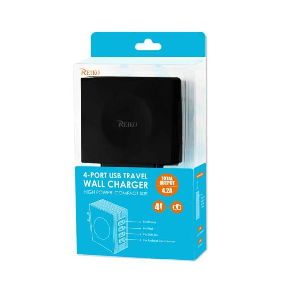 4 AMP FOUR PORTS PORTABLE TRAVEL STATION CHARGER IN BLACK