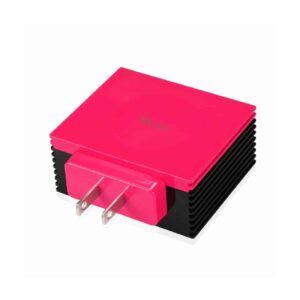 4 AMP FOUR PORTS PORTABLE TRAVEL STATION CHARGER IN HOT PINK