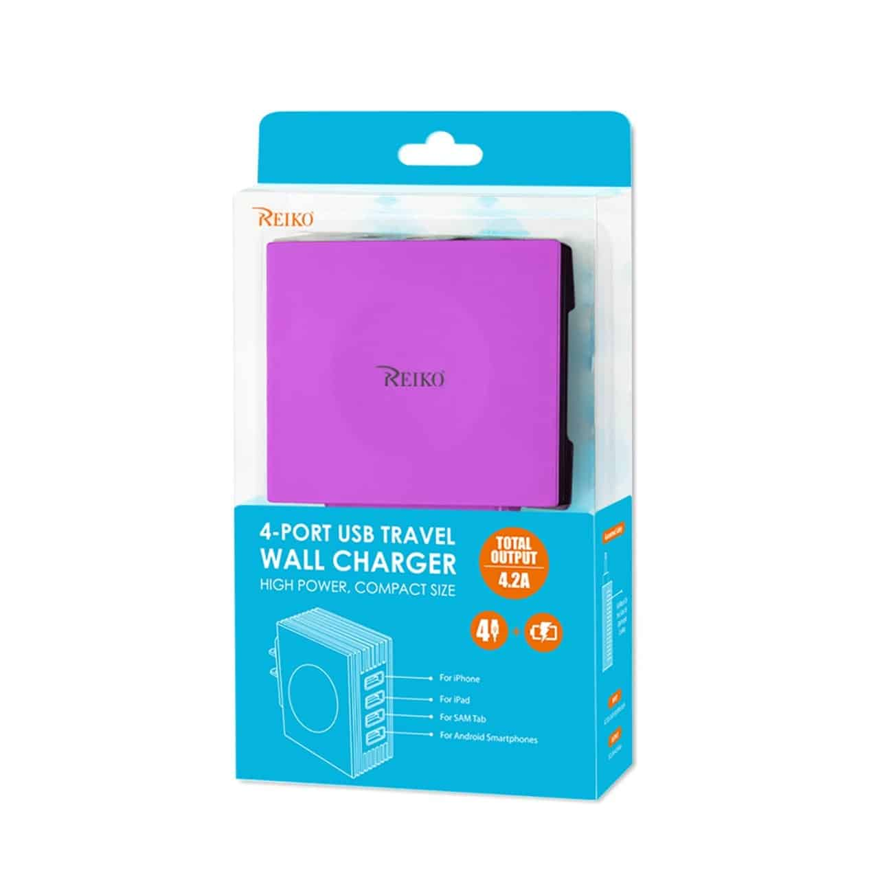 4 AMP FOUR PORTS PORTABLE TRAVEL STATION CHARGER IN PURPLE