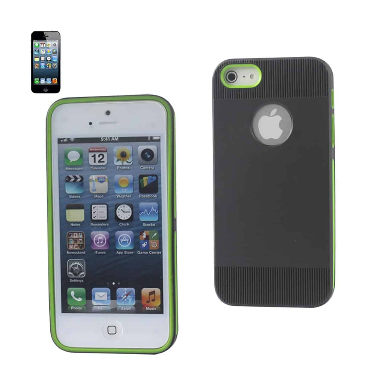IPHONE 5/5S/SE DUAL COLOR CASE WITH RIDGES IN BLACK GREEN