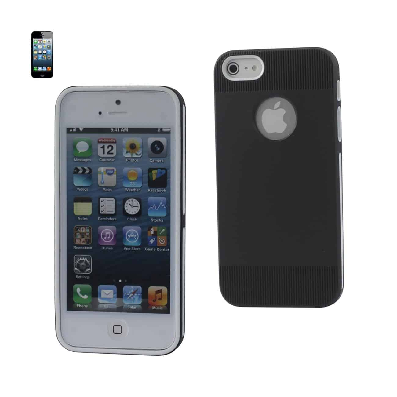 IPHONE SE/ 5S/ 5 DUAL COLOR CASE WITH RIDGES IN BLACK WHITE