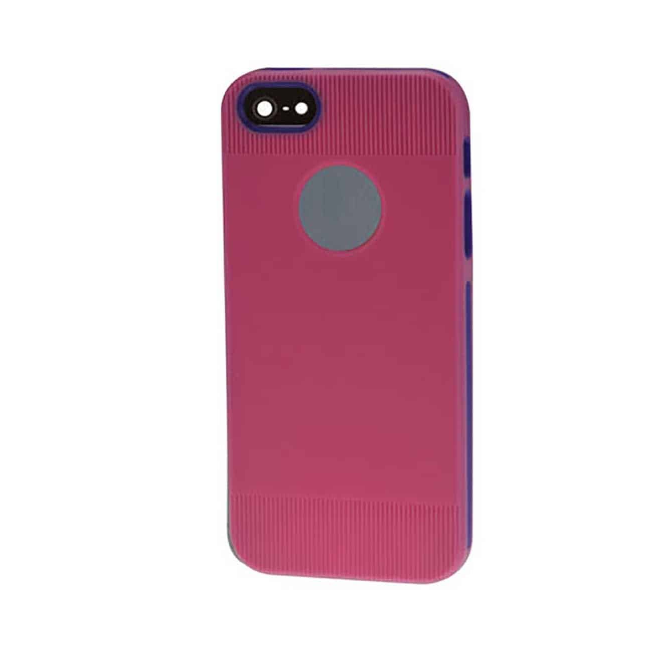 IPHONE SE/ 5S/ 5 DUAL COLOR CASE WITH RIDGES IN PINK PURPLE