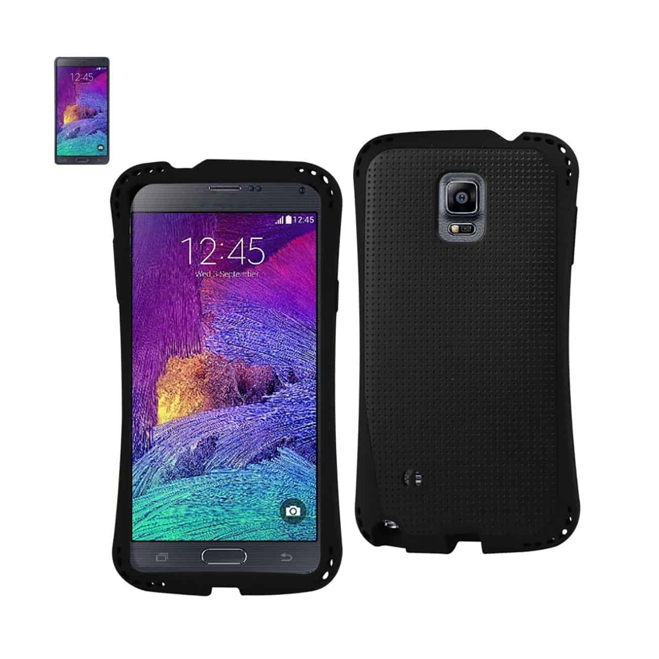 SAMSUNG GALAXY NOTE 4 DROPPROOF AIR CUSHION CASE WITH CHAIN HOLE IN BLACK