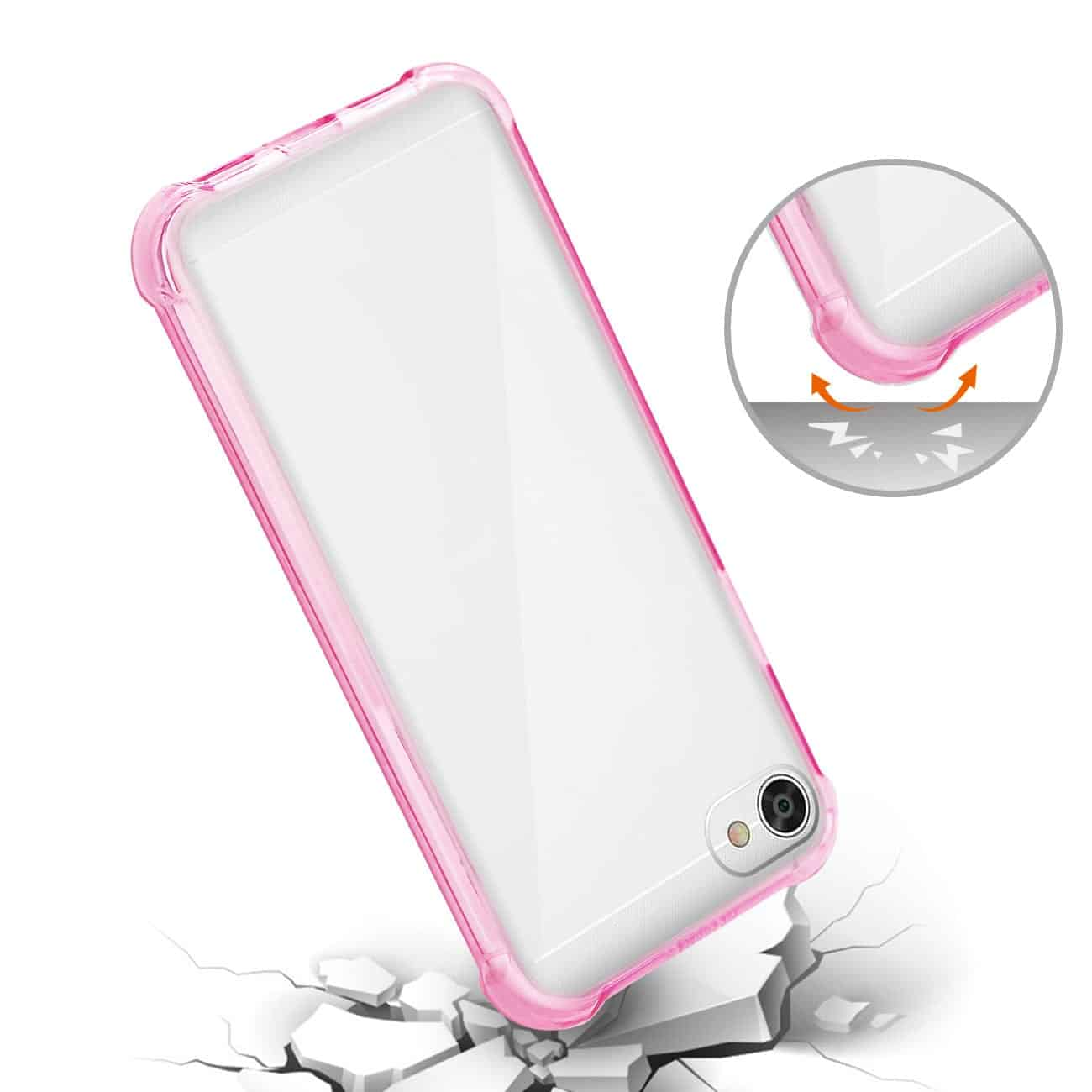 ALCATEL CRAVE CLEAR BUMPER CASE WITH AIR CUSHION PROTECTION IN CLEAR HOT PINK
