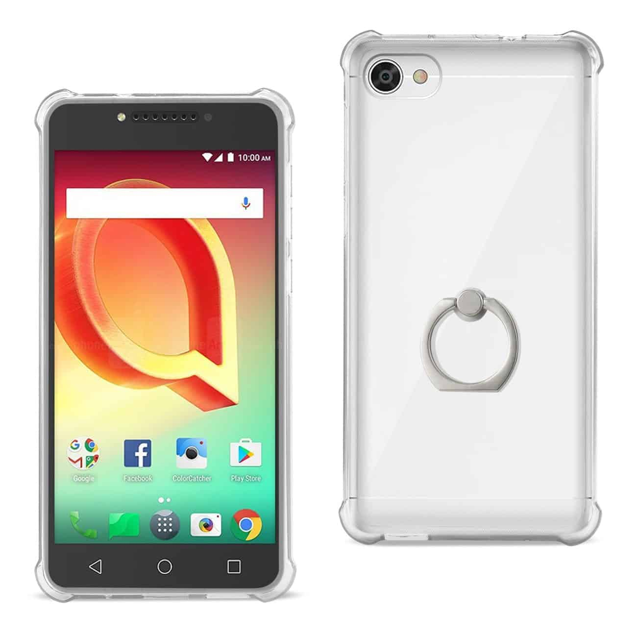 ALCATEL CRAVE TRANSPARENT AIR CUSHION PROTECTOR BUMPER CASE WITH RING HOLDER IN CLEAR