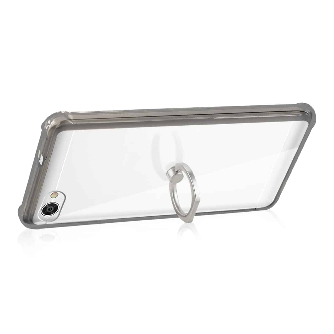 ALCATEL CRAVE TRANSPARENT AIR CUSHION PROTECTOR BUMPER CASE WITH RING HOLDER IN CLEAR BLACK