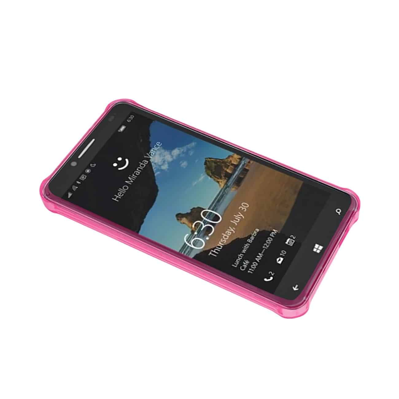 ALCATEL ONE TOUCH FIERCE XL MIRROR EFFECT CASE WITH AIR CUSHION PROTECTION IN CLEAR HOT PINK
