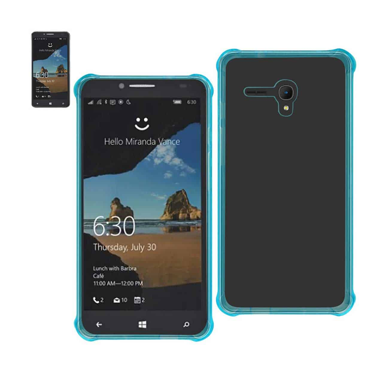 ALCATEL ONE TOUCH FIERCE XL MIRROR EFFECT CASE WITH AIR CUSHION PROTECTION IN CLEAR NAVY
