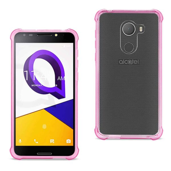 ALCATEL WALTERS CLEAR BUMPER CASE WITH AIR CUSHION PROTECTION IN CLEAR HOT PINK