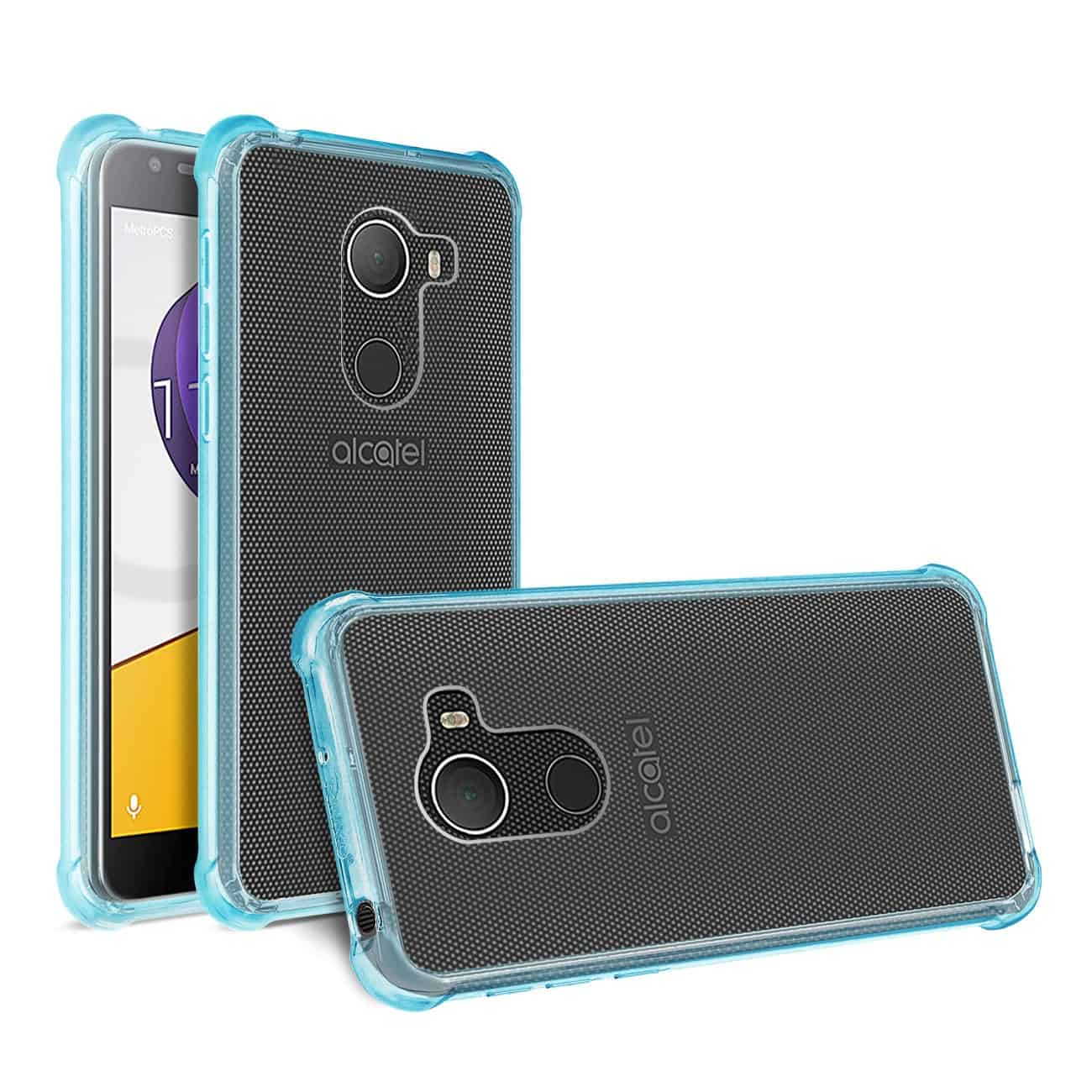 ALCATEL WALTERS CLEAR BUMPER CASE WITH AIR CUSHION PROTECTION IN CLEAR NAVY