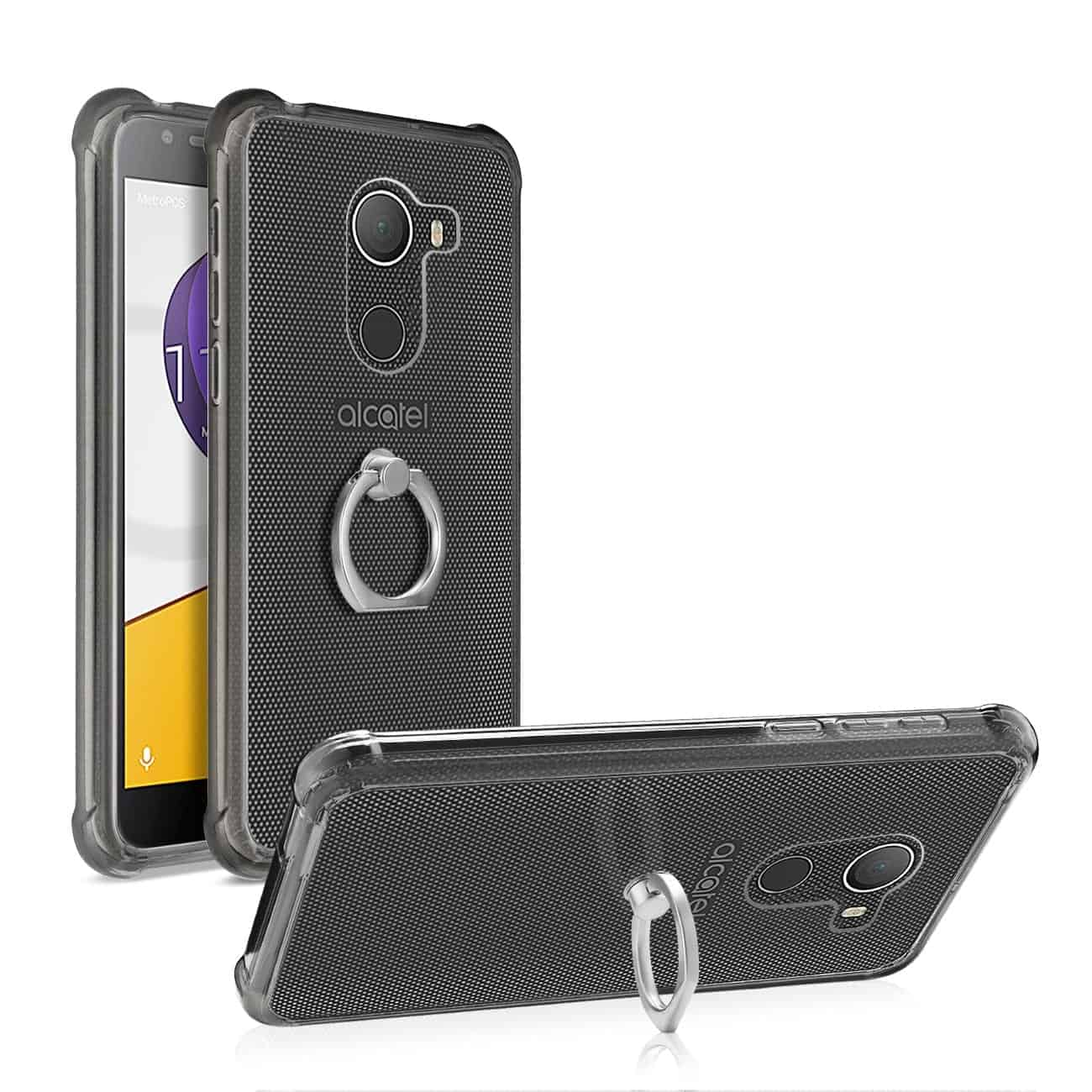 ALCATEL WALTERS TRANSPARENT AIR CUSHION PROTECTOR BUMPER CASE WITH RING HOLDER IN CLEAR BLACK