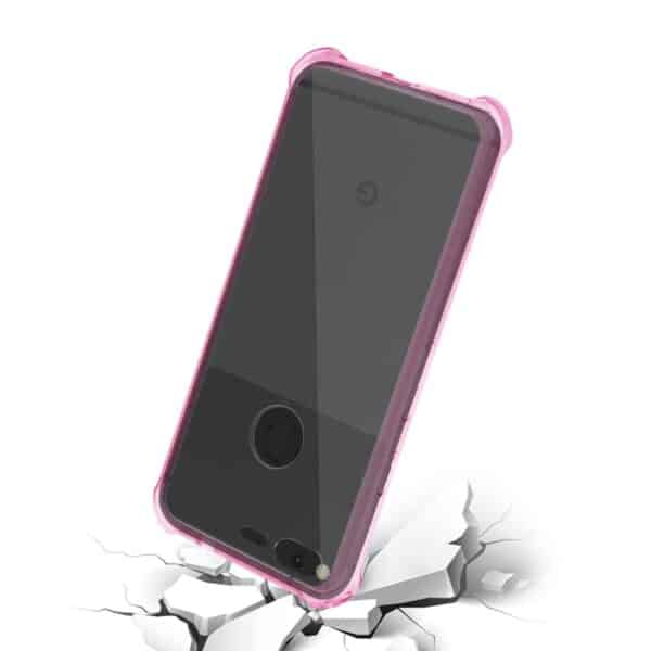 GOOGLE PIXEL CLEAR BUMPER CASE WITH AIR CUSHION PROTECTION IN CLEAR HOT PINK