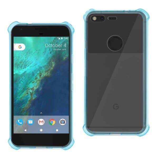 GOOGLE PIXEL CLEAR BUMPER CASE WITH AIR CUSHION PROTECTION IN CLEAR NAVY