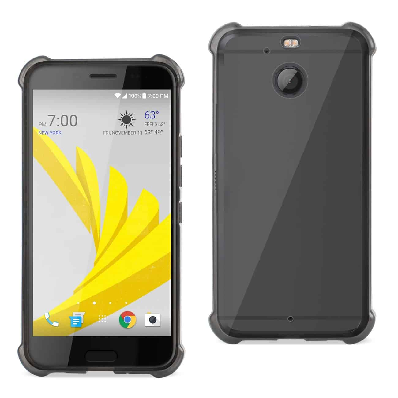 HTC BOLT CLEAR BUMPER CASE WITH AIR CUSHION PROTECTION IN CLEAR BLACK