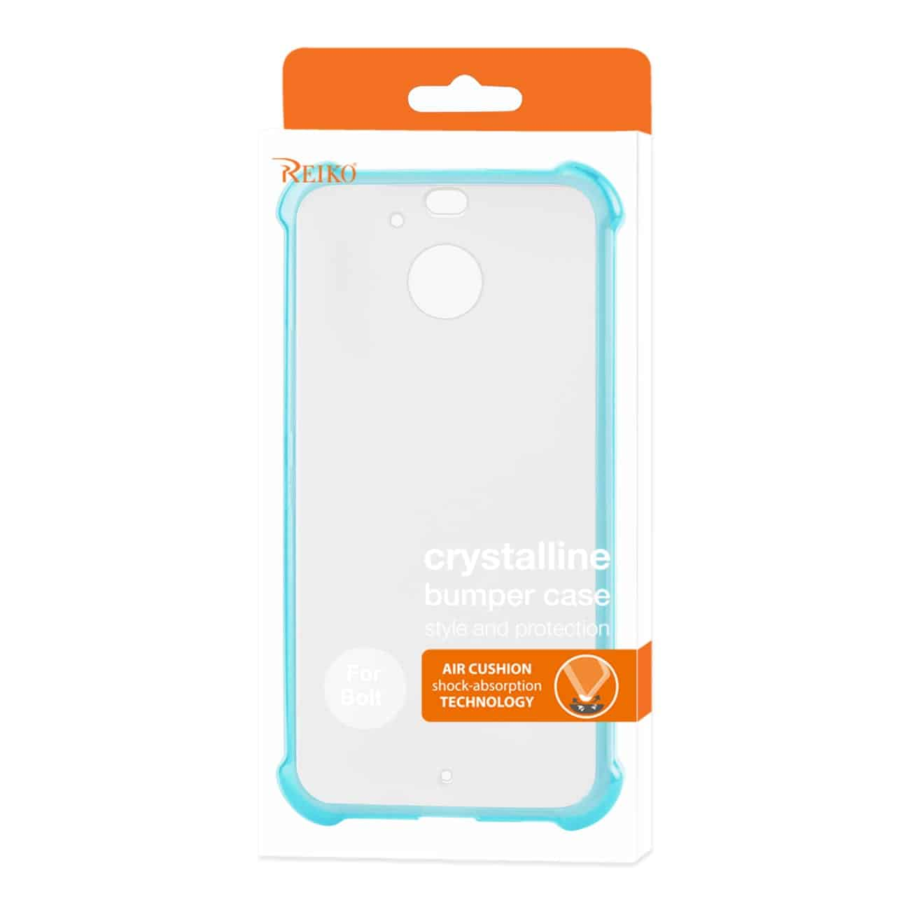 HTC BOLT CLEAR BUMPER CASE WITH AIR CUSHION PROTECTION IN CLEAR NAVY
