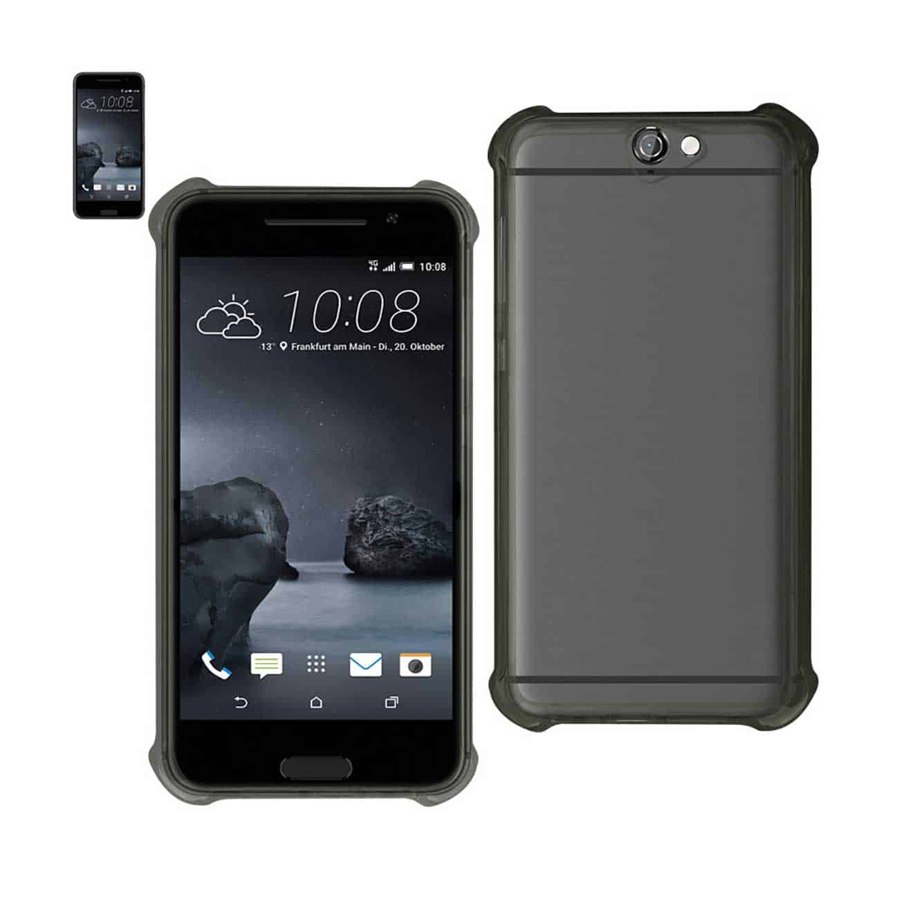 HTC ONE A9 MIRROR EFFECT CASE WITH AIR CUSHION PROTECTION IN CLEAR BLACK