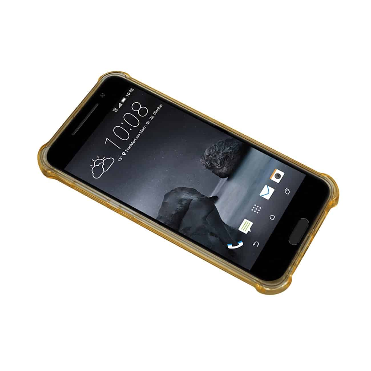 HTC ONE A9 MIRROR EFFECT CASE WITH AIR CUSHION PROTECTION IN CLEAR GOLD