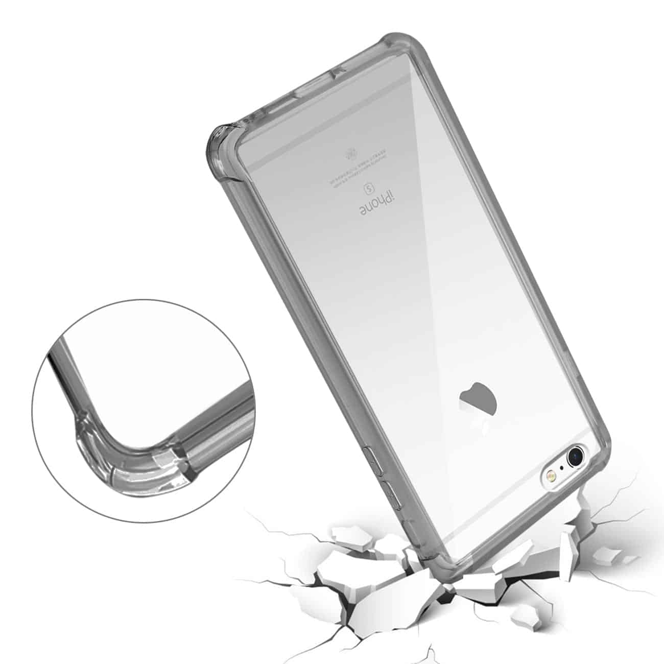 IPHONE 6 PLUS/ 6S PLUS/ 7 PLUS CLEAR BUMPER CASE WITH AIR CUSHION PROTECTION IN CLEAR BLACK