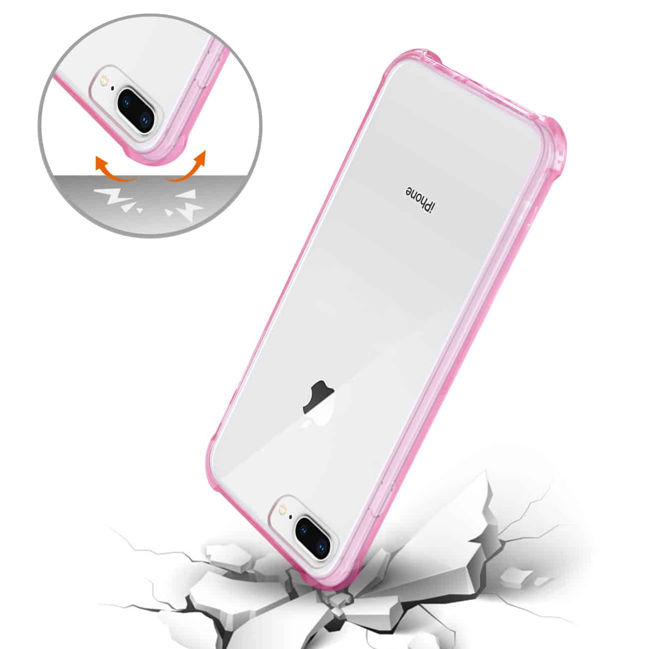 iPhone 8 Plus Clear Bumper Case With Air Cushion Protection In Clear Hot Pink