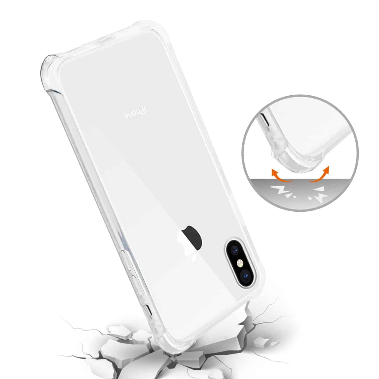 iPhone X/iPhone XS CLEAR BUMPER CASE WITH AIR CUSHION PROTECTION IN CLEAR