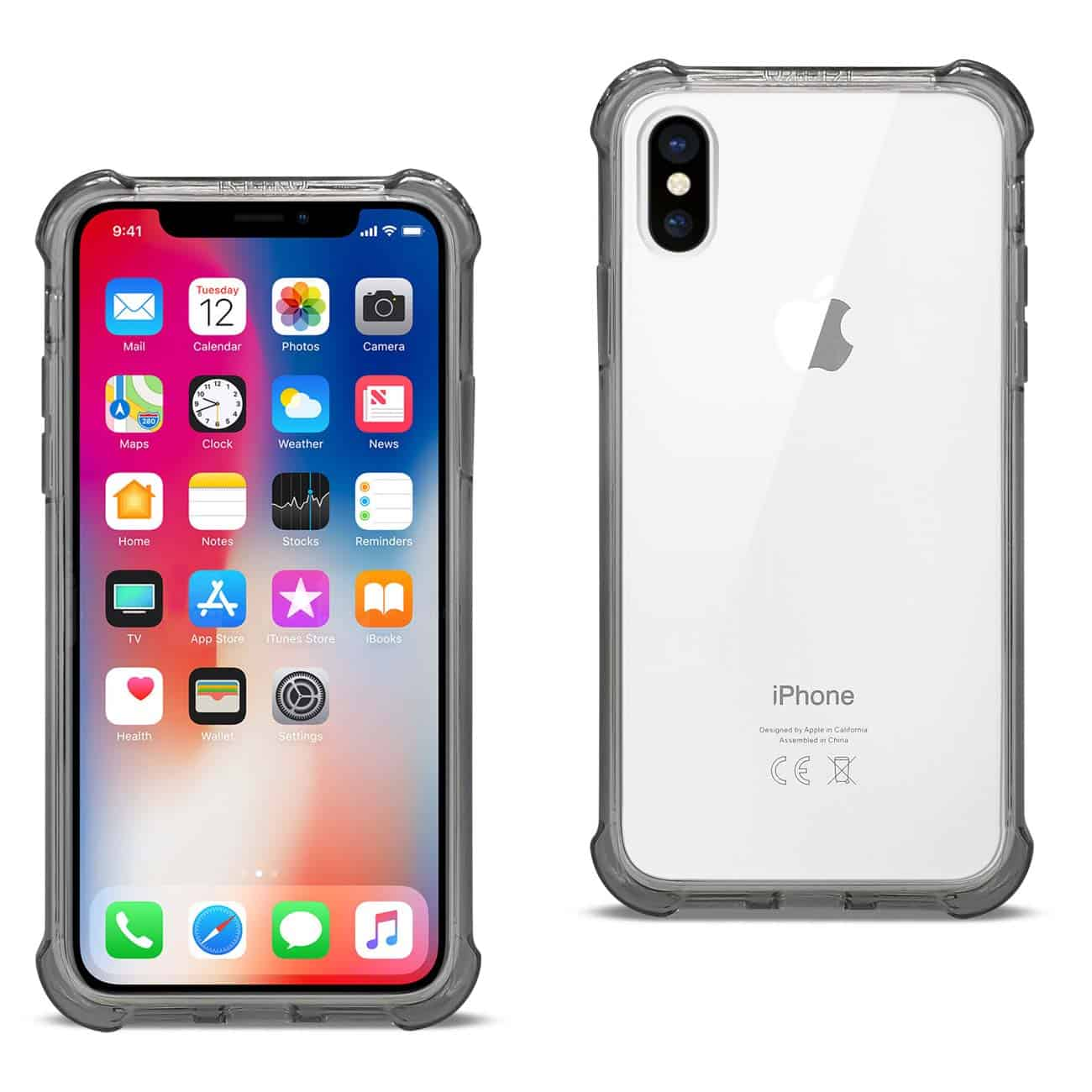 iPhone X/iPhone XS Clear Bumper Case With Air Cushion Protection In Clear Black