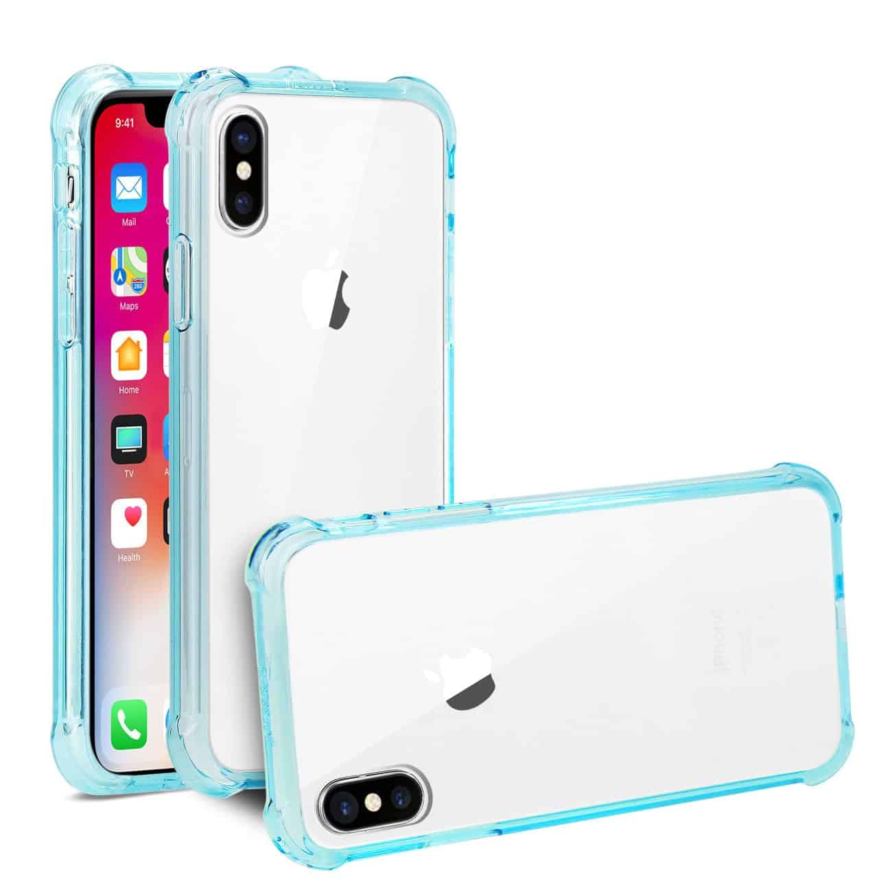 iPhone X Clear Bumper Case With Air Cushion Protection In Clear Navy