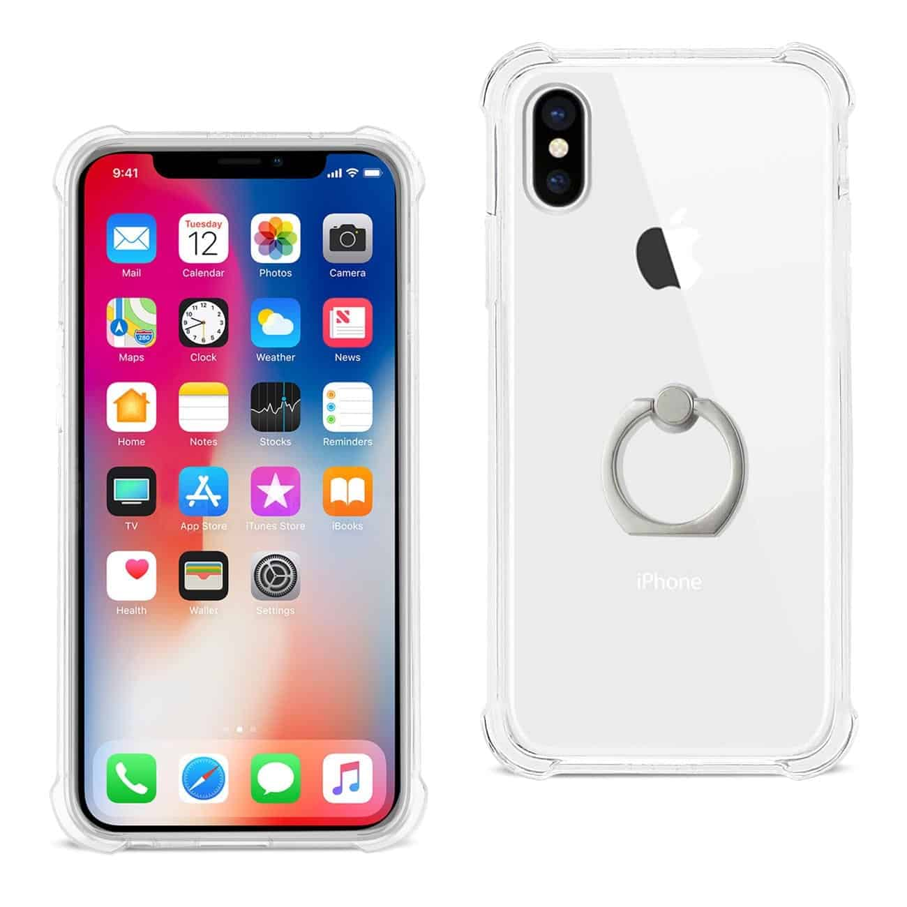 iPhone X/iPhone XS Transparent Air Cushion Protector Bumper Case With Ring Holder In Clear