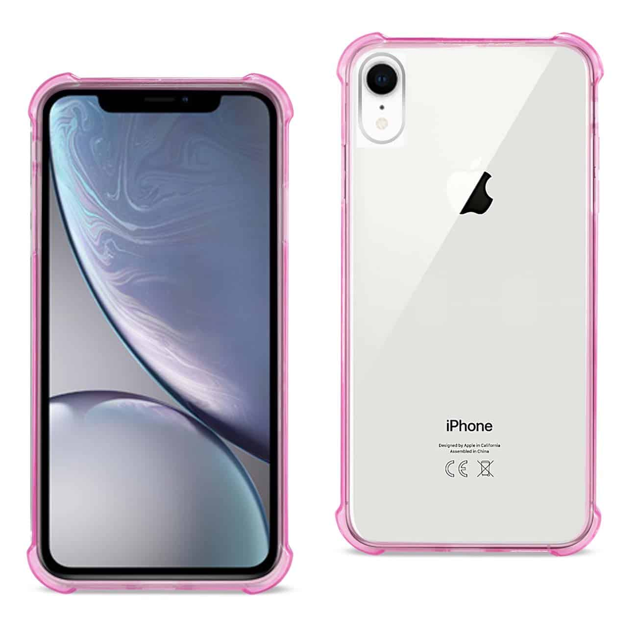 iPhone XR Clear Bumper Case With Air Cushion Protection In Clear Hot Pink