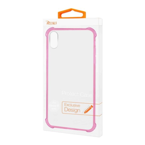 iPhone XS Max Clear Bumper Case With Air Cushion Protection In Clear Hot Pink
