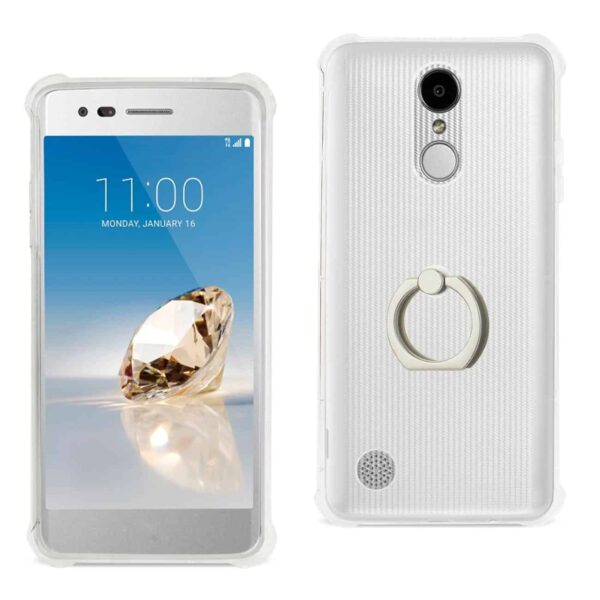 LG Aristo/ Fortune/ Phoenix 3 Transparent Air Cushion Protector Bumper Case With Ring Holder In Clear