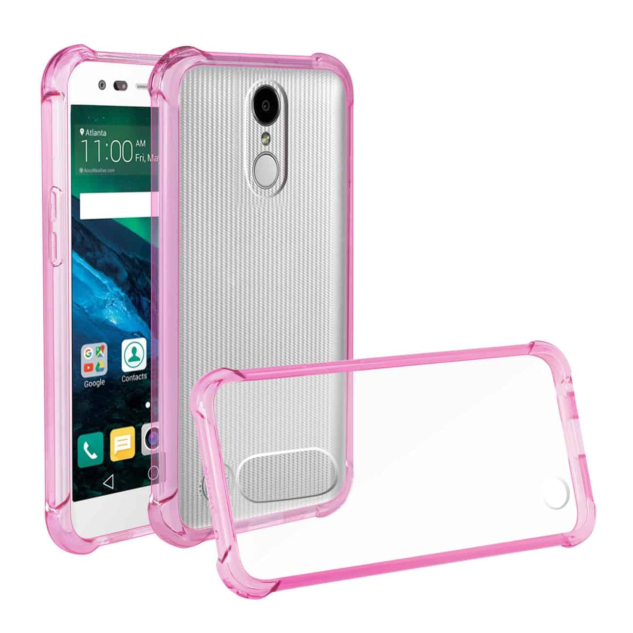 LG FORTUNE/ PHOENIX 3/ ARISTO CLEAR BUMPER CASE WITH AIR CUSHION PROTECTION IN CLEAR HOT PINK