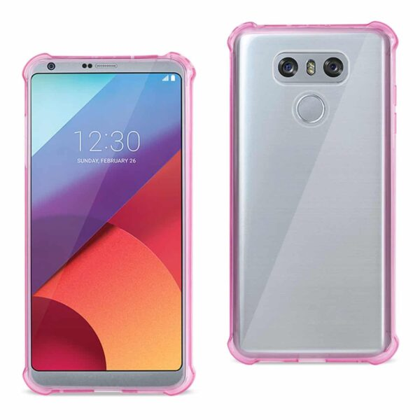 LG G6 CLEAR BUMPER CASE WITH AIR CUSHION SHOCK ABSORPTION IN CLEAR HOT PINK