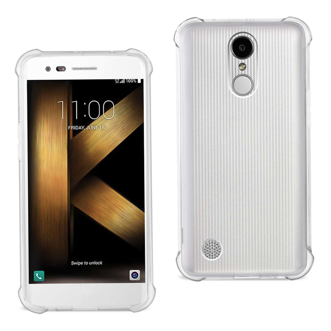 LG K20 V/ K20 PLUS CLEAR BUMPER CASE WITH AIR CUSHION PROTECTION IN CLEAR