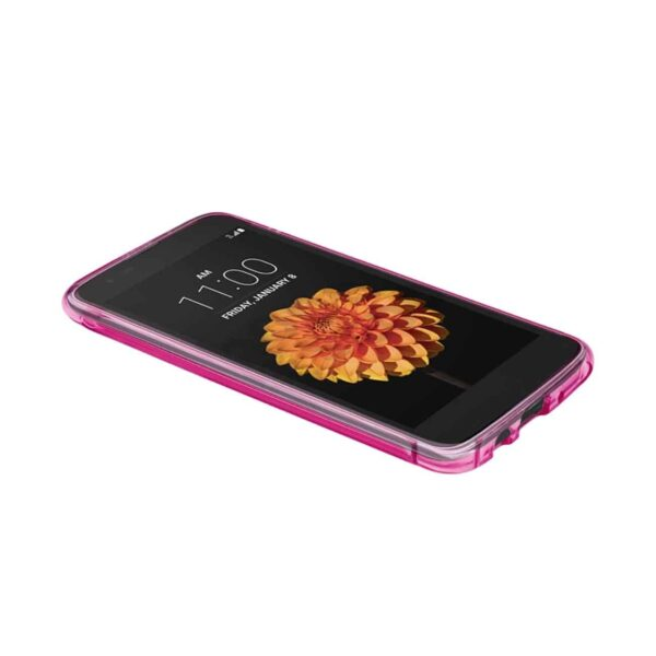 LG K7 CLEAR BUMPER CASE WITH AIR CUSHION PROTECTION IN HOT PINK