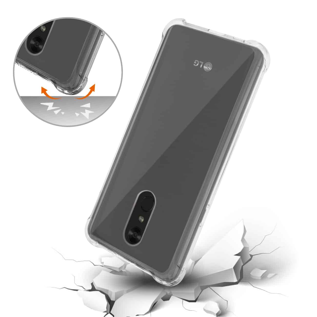 LG Stylo 4 Clear Bumper Case With Air Cushion Protection In Clear Black