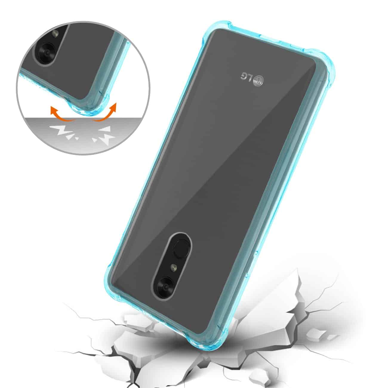 LG Stylo 4 Clear Bumper Case With Air Cushion Protection In Clear Navy