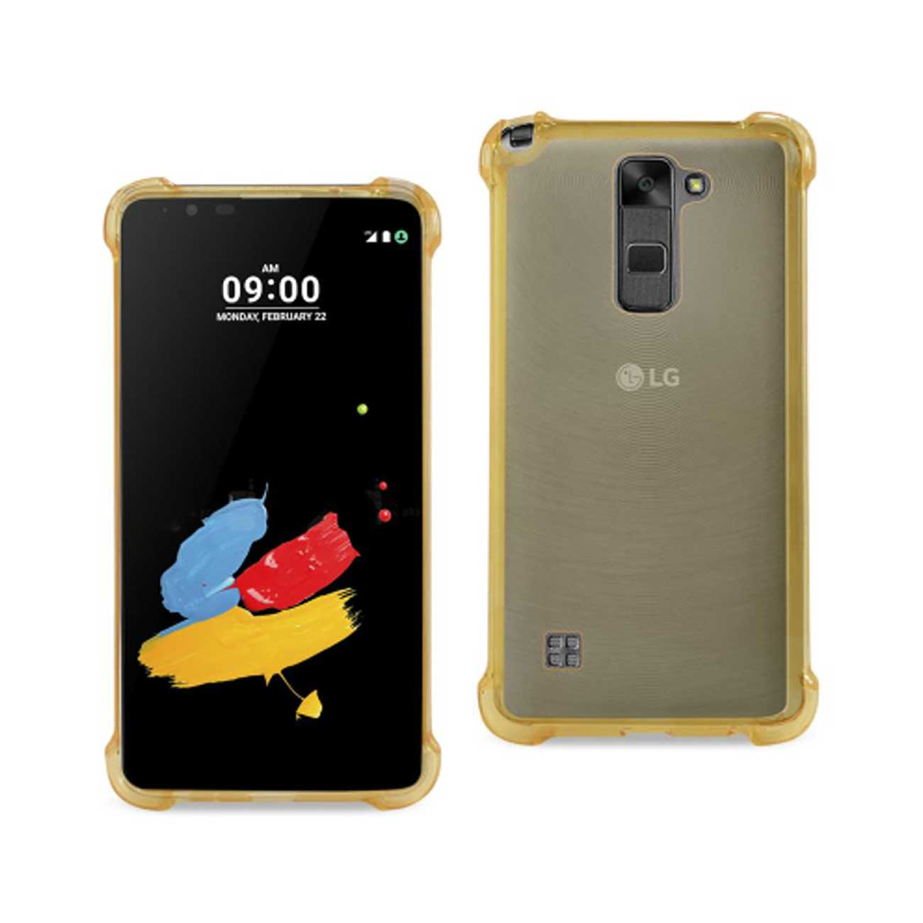 LG STYLUS 2 MIRROR EFFECT CASE WITH AIR CUSHION PROTECTION IN CLEAR GOLD