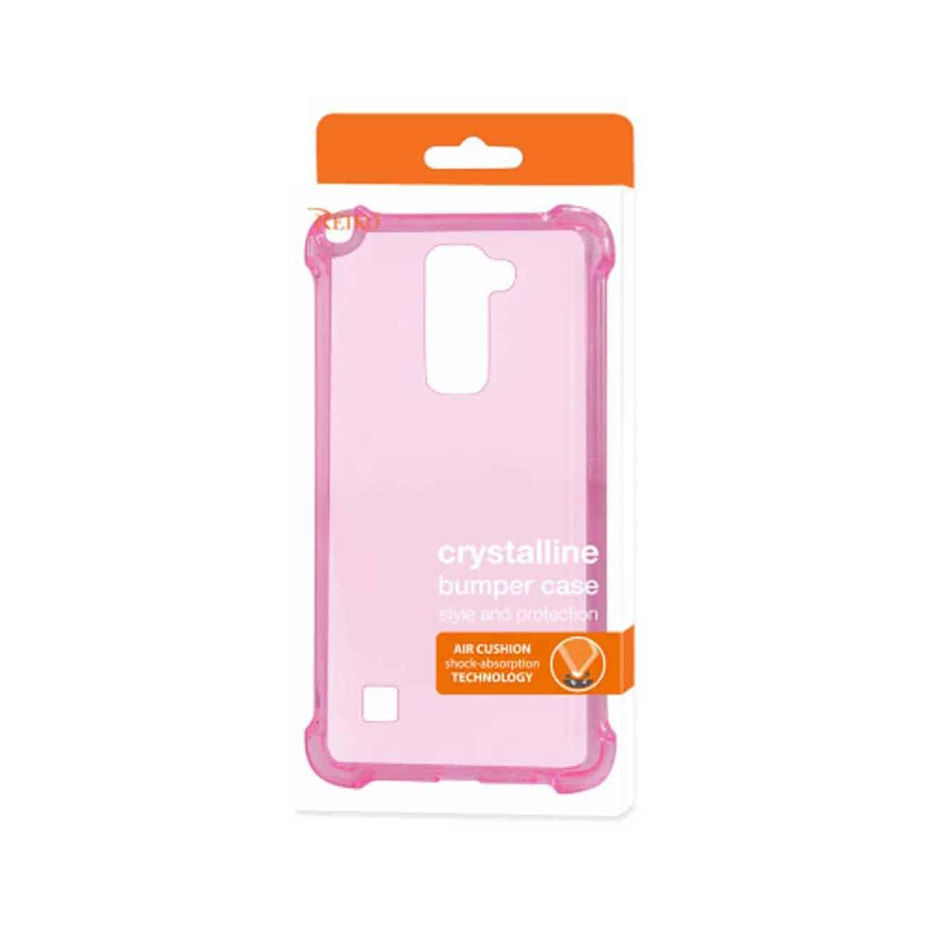 LG STYLUS 2 CLEAR BUMPER CASE WITH AIR CUSHION PROTECTION IN CLEAR HOT PINK