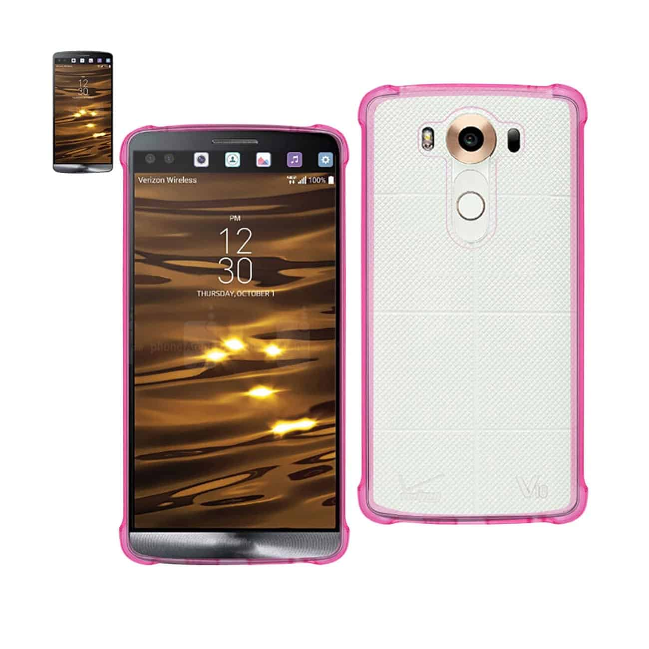 LG V10 MIRROR EFFECT CASE WITH AIR CUSHION PROTECTION IN CLEAR HOT PINK