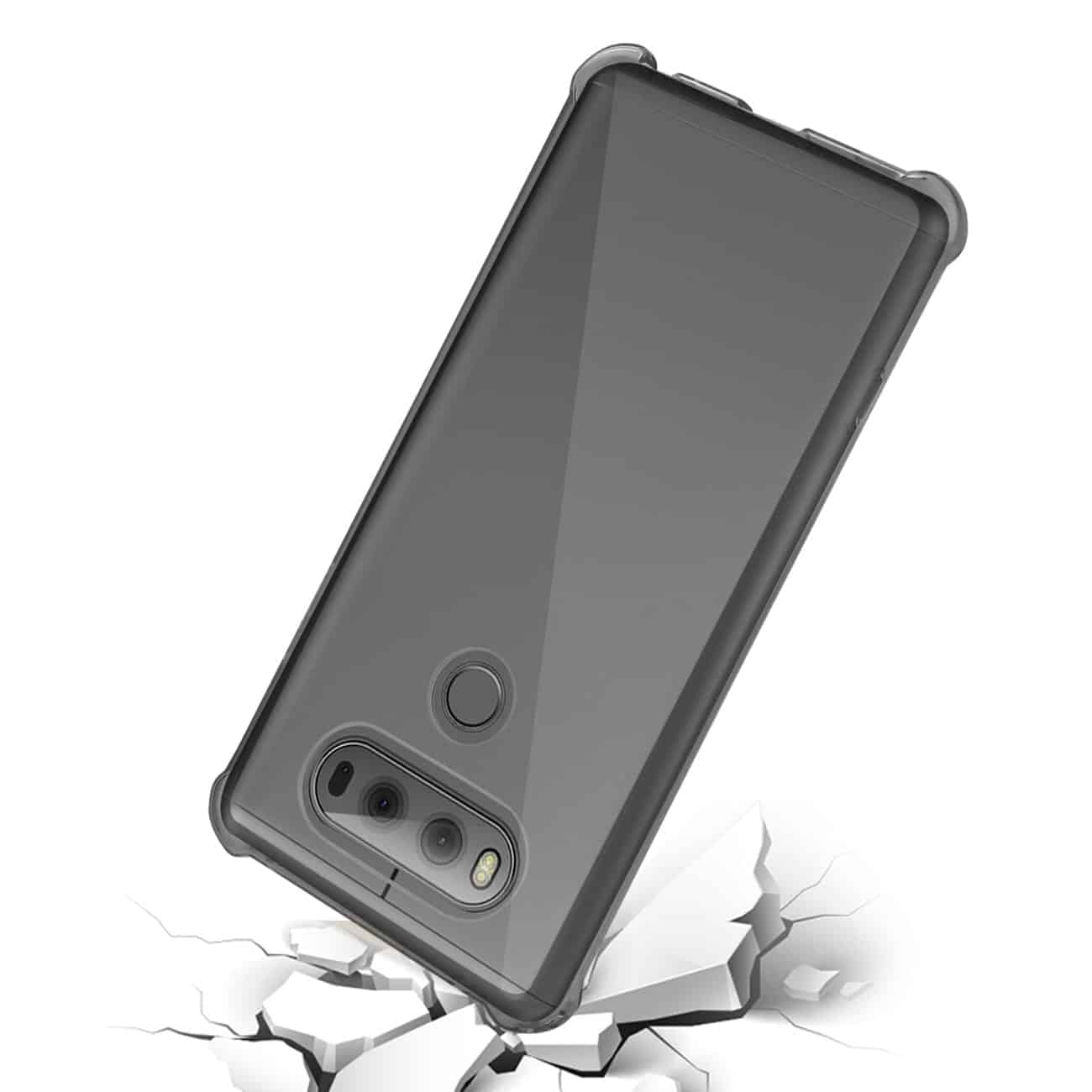 LG V20 5.7 INCHES CLEAR BUMPER CASE WITH AIR CUSHION PROTECTION IN CLEAR BLACK