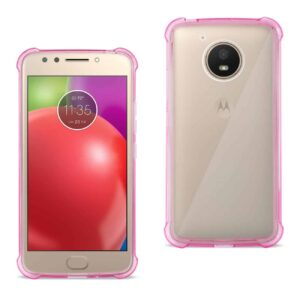 Motorola Moto E4 Active Clear Bumper Case With Air Cushion Protection In Clear Hot Pink