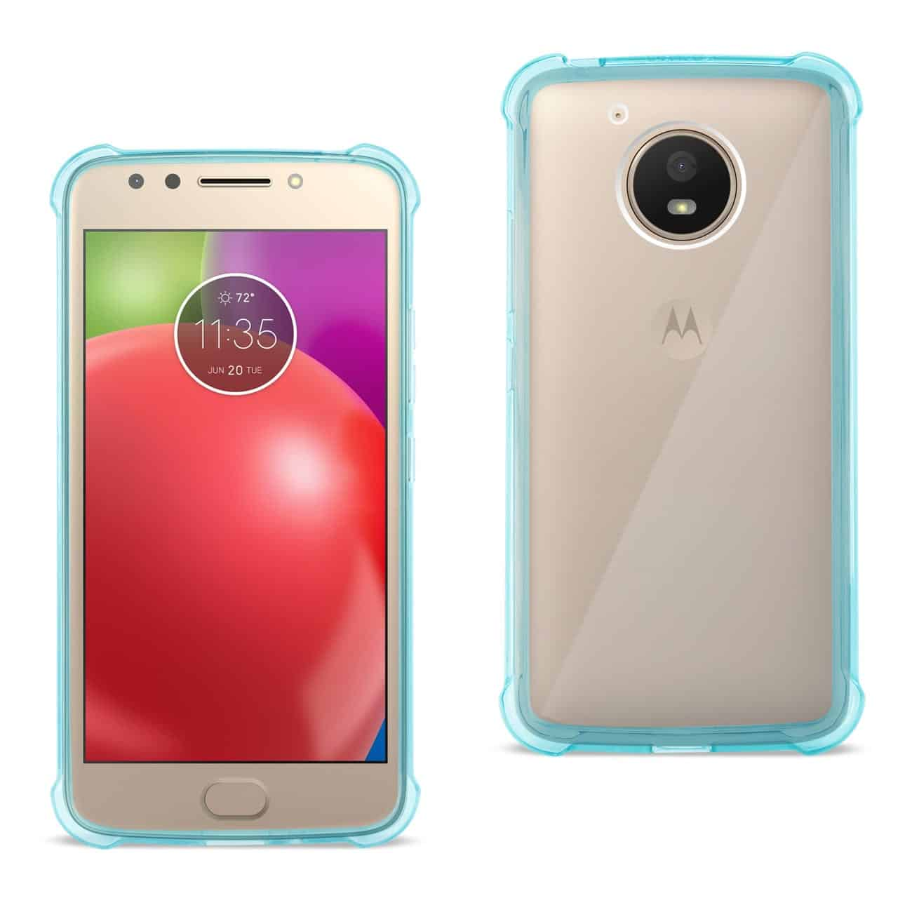 MOTOROLA MOTO E4 ACTIVE CLEAR BUMPER CASE WITH AIR CUSHION PROTECTION IN CLEAR NAVY