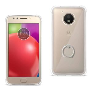 Motorola Moto E4 Active Transparent Air Cushion Protector Bumper Case With Ring Holder In Clear