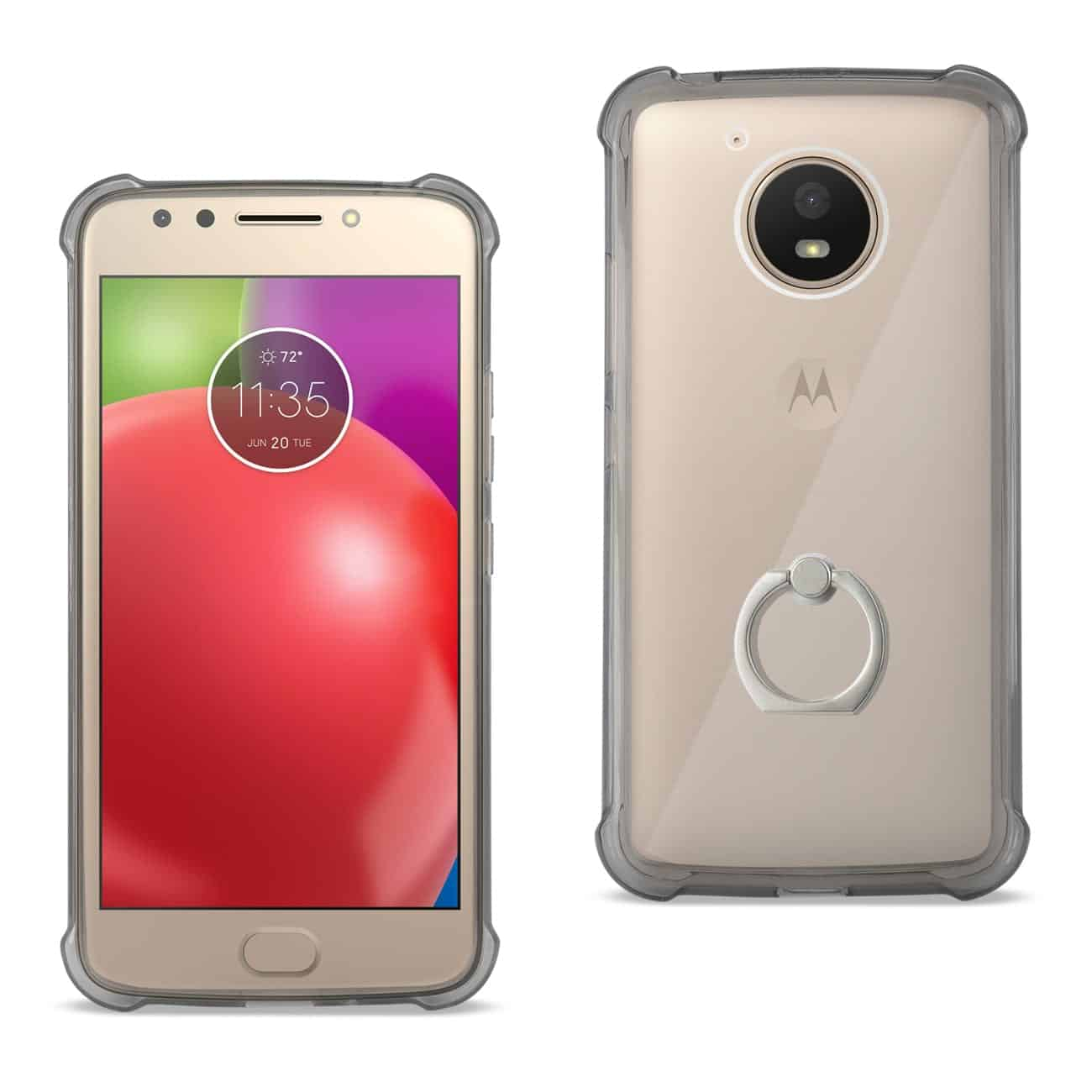 MOTOROLA MOTO E4 ACTIVE TRANSPARENT AIR CUSHION PROTECTOR BUMPER CASE WITH RING HOLDER IN CLEAR BLACK